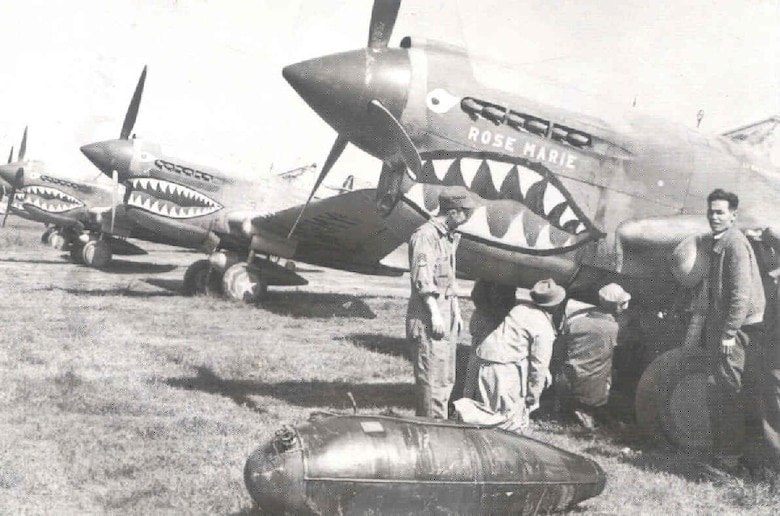 P-40 aircraft on the line during World War II.