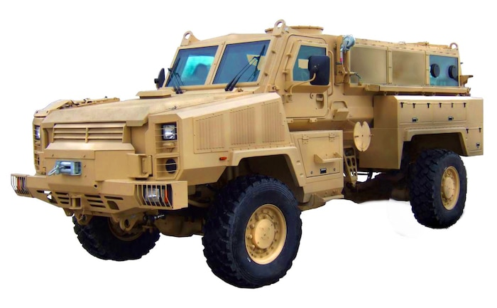 This is a photo of the Mine Resistant Ambush Protected vehicle prototype Canadian Commercial Corporation, General Dynamics Land Systems, submitted as part of their proposal.