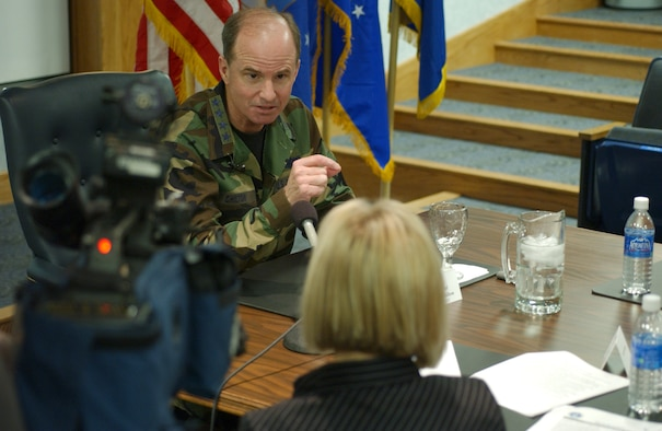 MALMSTROM AIR FORCE BASE, Mont. -- Gen. Kevin P. Chilton, Air Force Space Command commander, talks with local media about his visit to Malmstrom AFB and his vision for the command during a press conference here Jan. 24. (Air Force photo by Roger Day)