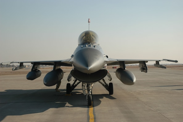 BALAD AIR BASE, Iraq -- An F-16 Block 50 F-16 aircraft sits on the flightline. The 14th Expeditionary Figher Squadron is the first Block 50 F-16 squadron deployed to Iraq. The 332nd Air Expeditionary Wing announced the opening of a third assigned fighter squadron in a ceremony here Jan. 16. (Courtesy photo)