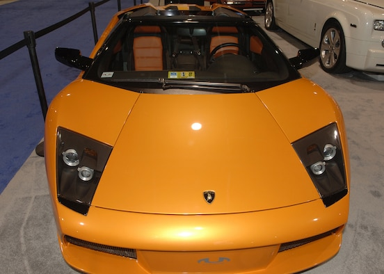 This cars turns heads no matter where you are in the world. The Lamborghini Murcielago Roadster coming in with a price tag of only $380,000 how's that for turning heads. (U.S. Air Force photo by Thomas Dennis)
