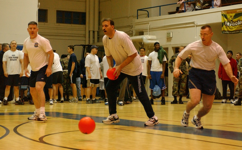 EIELSON AIR FORCE BASE, Alaska--Eielson Chiefs compete in a heated dodgeball match against the Eielson commanders on base at the fitness center Jan. 26. More than 400 Airmen and their families attended the X-Treme Winter Challenge hosted by the 354th Services Squadron and BASE 24/7. (U.S. Air Force photo by Senior Airman Rachel Walters)