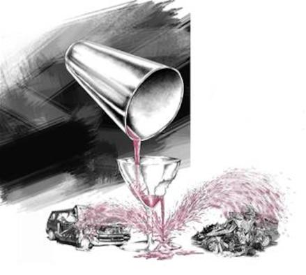 A martini shaker pouring alcohol into a broken glass with the alcohol splattering onto two wrecked vehicles, illustrating the consequences of DUI in this story. (composite illustration by Sammie W. King)