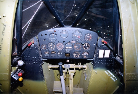 DAYTON, Ohio -- Curtiss O-52 cockpit at the National Museum of the United States Air Force. (U.S. Air Force photo)