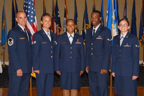 The 14th Flying Training Wing congratulates the  July enlisted promotees. Pictured are: to Master Sgt. Jason Mattice, 14th Communications Squadron; to Senior Airman Cristina Brown, 14th Services Division; Jonnie Moore, 14th Civil Engineer Squadron; to Airman 1st Class Christopher Moseley, 37th Flying Training Squadron; and Amanda Fitzgerald, 14th Medical Operations Squadron. (U.S. Air Force Photo by Tammy Baudoin)
