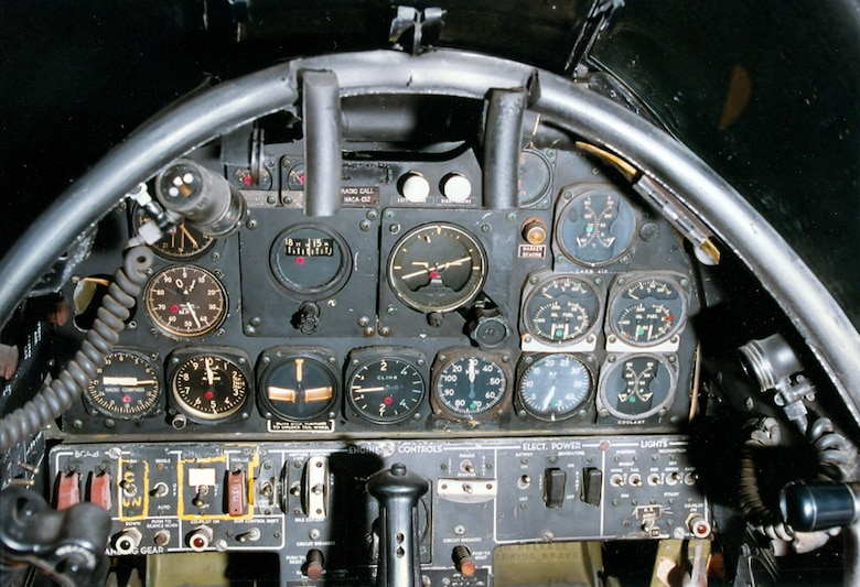 DAYTON, Ohio -- North American F-82B left cockpit at the National Museum of the United States Air Force. (U.S. Air Force photo)