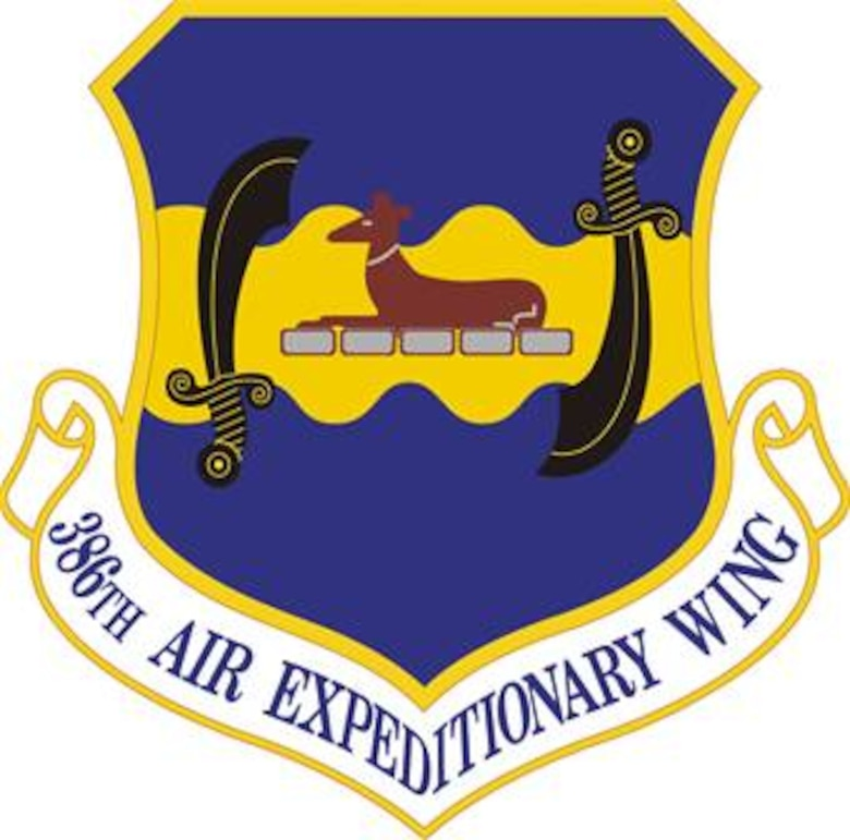 The 386th Air Expeditionary Wing shield (color), U.S. Air Force graphic. In accordance with Chapter 3 of AFI 84-105, commercial reproduction of this emblem is NOT permitted without the permission of the proponent organizational/unit commander. Ultramarine blue and Air Force yellow are the Air Force colors.  Blue alludes to the sky, the primary theater of Air Force operations.  Yellow refers to the sun and the excellence required of Air Force personnel.  The black scimitars represent the strength and might of combat air power in Southwest Asia.  The brown Whippet symbolizes the original group's mascot Marauder and by extension the first assigned aircraft, the B-26 Marauder.  The flat silver stones upon which the Whippet rests signifies the stepping stones of the original flying squadrons to the present day Wing, and show the untiring devotion to duty, extra ordinary skills, courage, and commitment.