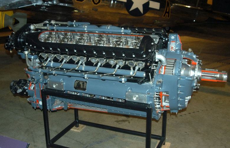 DAYTON, Ohio -- Allison V-1710 on display in the World War II Gallery at the National Museum of the United States Air Force. (U.S. Air Force photo)