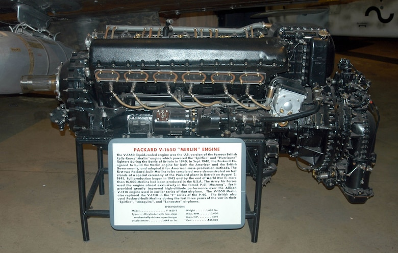 DAYTON, Ohio -- Packard V-1650 Merlin engine on display in the World War II Gallery at the National Museum of the United States Air Force. (U.S. Air Force photo)