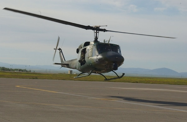 UH-1N Huey helicopter prepares to land at Malmstrom Air Force Base, Mont. (U.S. Air Force photo)