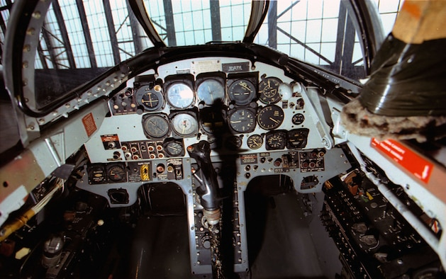 DAYTON, Ohio -- Lockheed T-33A front cockpit at the National Museum of the United States Air Force. (U.S. Air Force photo)