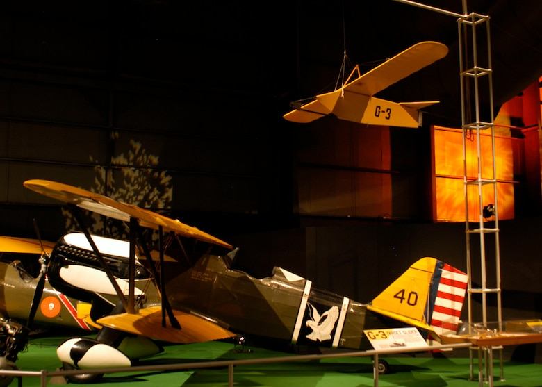 DAYTON, Ohio -- G-3 target glider (top right) in the Early Years Gallery at the National Museum of the United States Air Force. (U.S. Air Force photo)