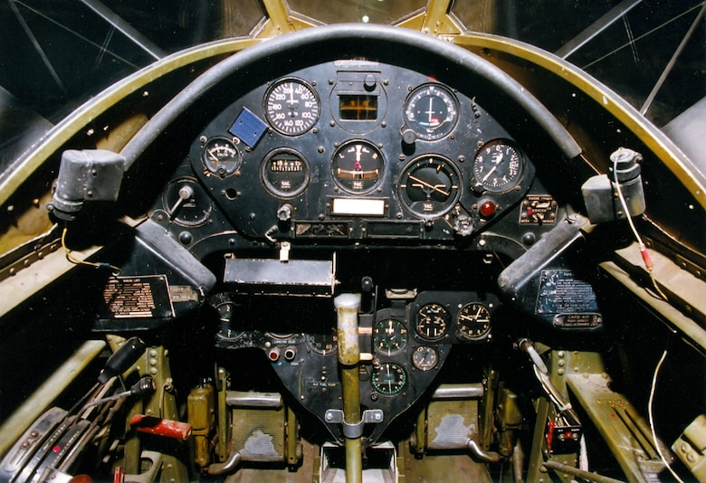 DAYTON, Ohio -- Grumman OA-12 Duck cockpit at the National Museum of the United States Air Force. (U.S. Air Force photo)