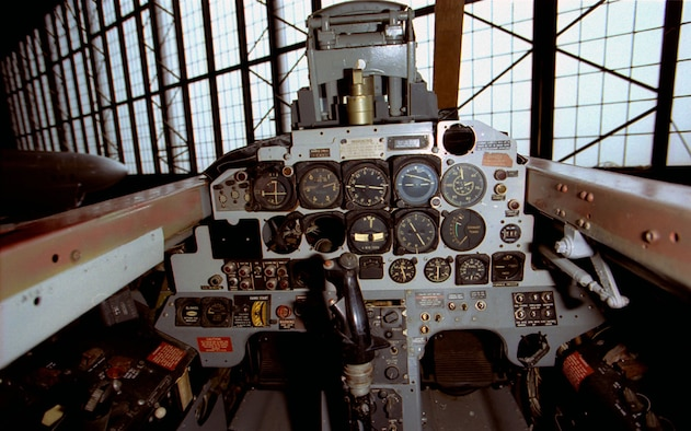 DAYTON, Ohio -- Lockheed T-33A rear cockpit at the National Museum of the United States Air Force. (U.S. Air Force photo)