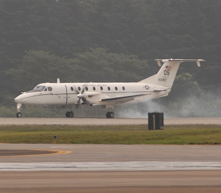 The first C-12 Huron lands at Yokota Air Base, Japan. The C-12 will replace Yokota's recently departed fleet of C-21 learjets. (U.S. Air Force Photo by A1C Laszlo Babocsi)(Released)