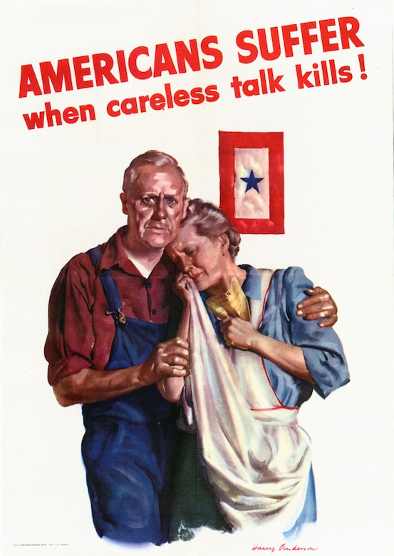 This couple, symbolizing the average American family of World War II, has lost a child in military service—the mother clutches a government telegram informing her of her family's loss. The blue star on the service flag in this anti-espionage poster will soon be replaced by a gold star. Government Printing Office, 1943.
