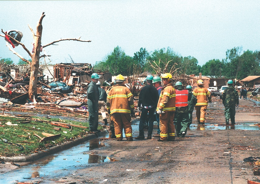 Tinker personnel and aid blanketed nearby communities when 1999's historic tornado flattened neighborhoods west of base. Tinker and emergency agencies regularly exercise and plan for the unimaginable disasters.