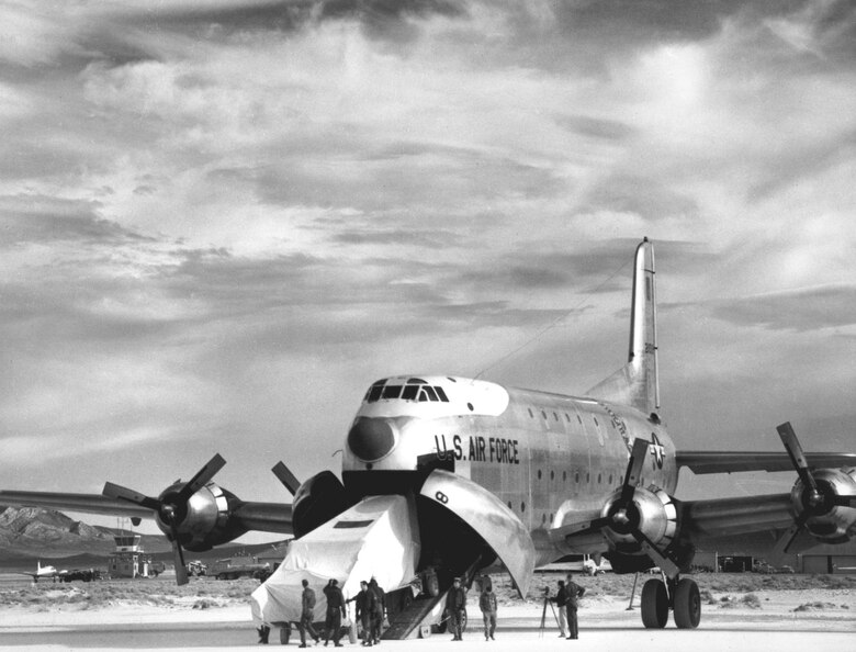 "Initial U-2 testing was done at a remote dry lake in Nevada nicknamed ""The Ranch."" Disassembled aircraft were airlifted in pieces from Lockheed's Burbank, Calif., plant to the Ranch and assembled there. Note that these CIA aircraft carry fictional National Advisory Council for Aeronautics (NACA) insignia and numbers. (U.S. Air Force photo)"
