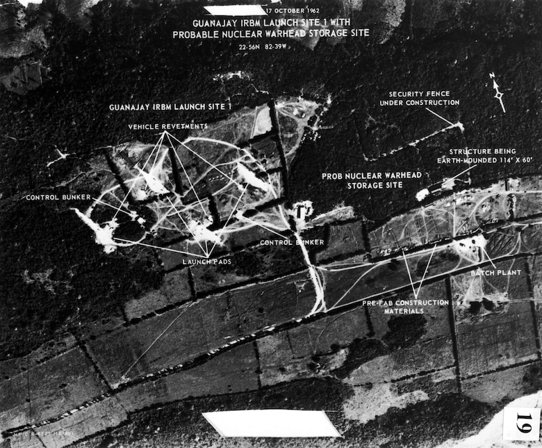 Missile installations at Guanajay, Cuba. This was the first image of an Intermediate Range Ballistic Missile (IRBM) site under construction in Cuba. Guanajay, in western Cuba near Havana, is about 270 miles from Miami, Fl, and only 130 miles from Key West, Fl. (U.S. Air Force photo)