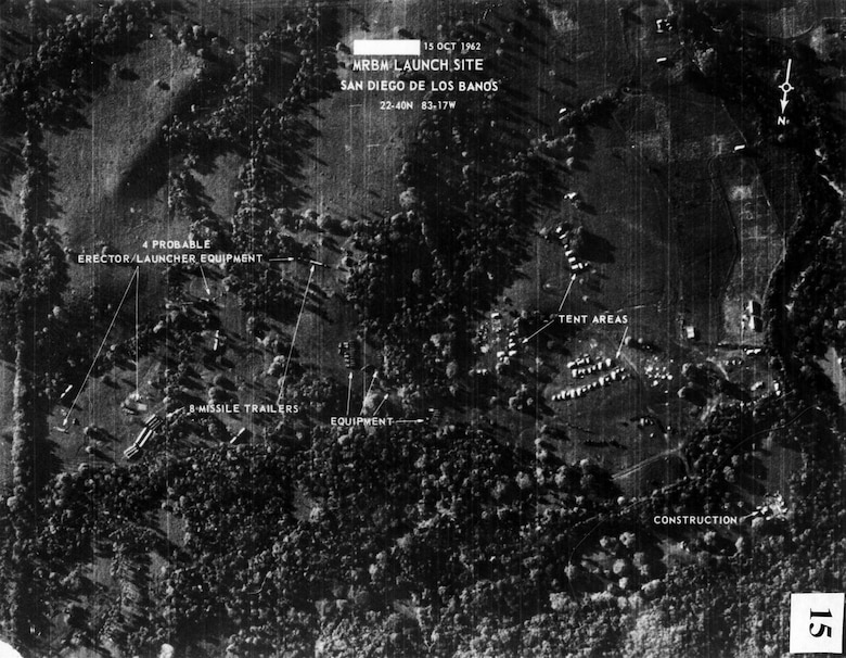 Soviet SS-4 missile installations in Cuba photographed from a U-2 on Oct. 14, 1962. This was the second set of missiles identified. (U.S. Air Force photo)