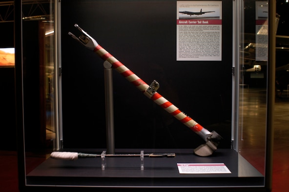 "DAYTON, Ohio - U-2 aircraft carrier tail hook and ""Q-tip"" on display in the Cold War Gallery at the National Museum of the U.S. Air Force. (U.S. Air Force photo)"