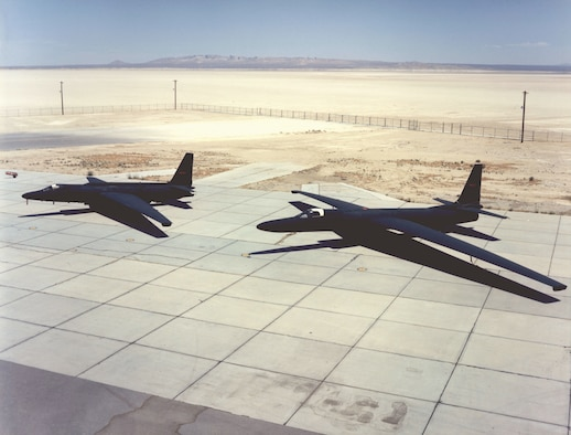The U-2R, introduced in 1967, was significantly larger than the original U-2. Its wingspan was 103 feet compared to 80 feet in the original design, and the new aircraft took advantage of a more powerful engine. Its range and endurance also were greater. (U.S. Air Force photo)