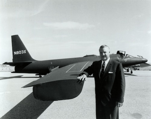 "Clarence L. ""Kelly"" Johnson, chief designer at Lockheed's secret ""Skunk Works"" facility, initially designed the U-2 around the F-104 Starfighter fuselage. (U.S. Air Force photo)"
