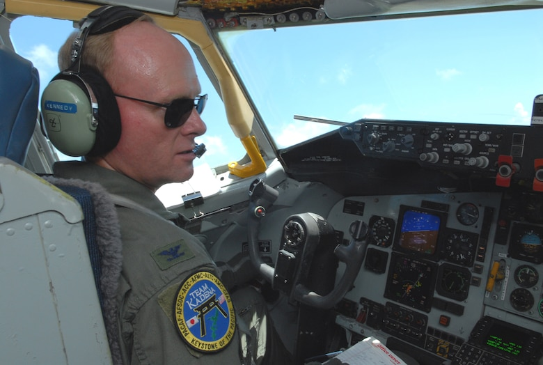 Col. Jeff Kennedy takes his final flight  in a KC-135 Stratotanker July 11. Colonel Kennedy retired July 12.