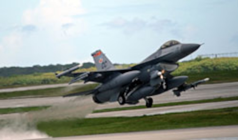 ANDERSEN AIR FORCE BASE, Guam -- An F-16 from the 522d Expeditionary Fighter Squadron takes off during a routine training mission. The current deployment of aircraft at Guam is one of the largest footprints in the history of the buildup of air forces here, maintaining U.S. deterrence and warfighting capabilities against possible threats in Asia. (U.S. Air Force photo by Senior Master Sgt. Mahmoud Rasoulyan)