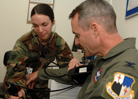 SPANGDAHLEM AIR BASE, Germany – Airman 1st Class Mary Bucher, 52nd Medical Operations Squadron medical technician, checks Col. Darryl Roberson's, 52nd Fighter Wing commander, blood pressure. Colonel Roberson spent time with Airman Bucher July 9 as part of his Commander Shadow Program. Airman Bucher, who has been in the Air Force for one year and eight months, is one of the first people to assess a patient's condition upon arrival to their medical appointment. Airman Bucher's goal is to not only complete her Community College of the Air Force degree, but to receive her veterinary medicine degree from Texas A&M. (U.S. Air Force photo/Airman 1st Class Stephanie Clark)