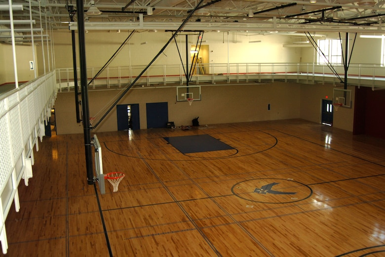 Gym construction continues hanscom air force base for Indoor basketball court construction