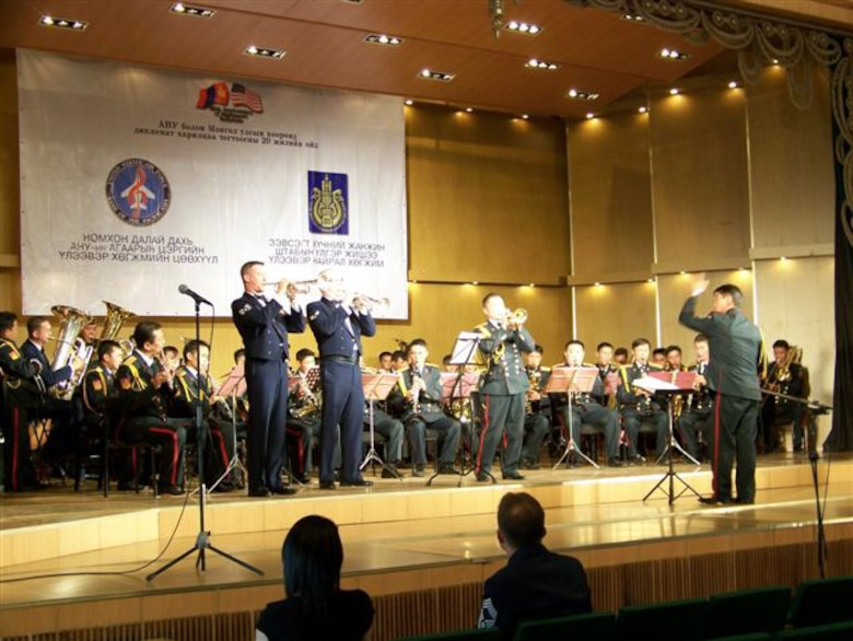 ULAANBATAAR, Mongolia -- The USAF Band of the Pacific-Asia performs with the Central Military Orchestra of the General Staff of the Armed Forces of Mongolia July 1. (Courtesy USAF photo)