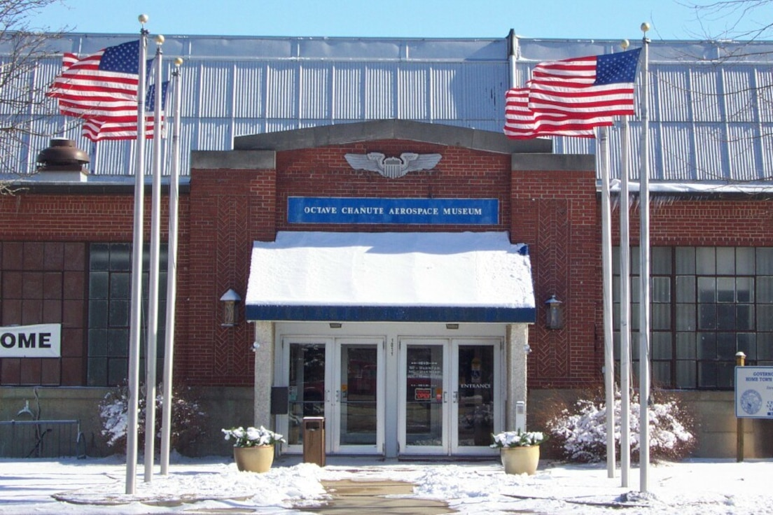 Main entrance to the Octave Chanute Aerospace Museum located on the former Chanute AFB, Ill.