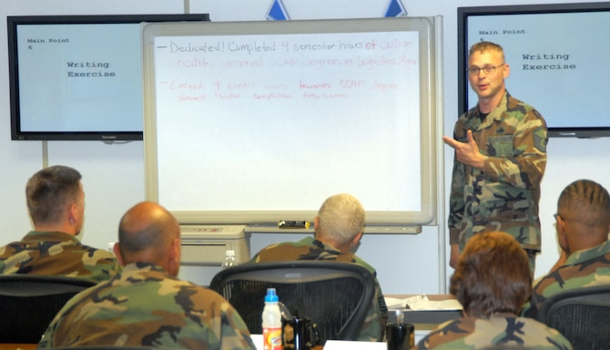 Master Sgt. Wil Hoffman, Edwards career assistance advisor, teaches effective writing techniques to the new master sergeant selects July 10 as part of the Senior Noncommissioned Officer Professional Enhancement course at the First Term Airman Center. The week-long course aims to enhance ledership skills of recently promoted senior NCOs through professional development courses. (Photo by Airman Mike Young)