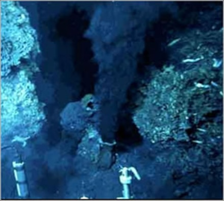 The photo shows hydrothermal vents in the ocean where life has been shown to grow at temperatures exceeding 100 degrees Celsius. The team of Dr. Frank Robb is studying organisms that thrive in such conditions, with the goal of understanding hhow to make biological materials more robust in the face of extreme temperature. AFOSR is funding Robb's work through its biophysical mechanisms research portfolio. Robb works at the Center of Marine Biotechnology, University of Maryland Biotechnology Institute.