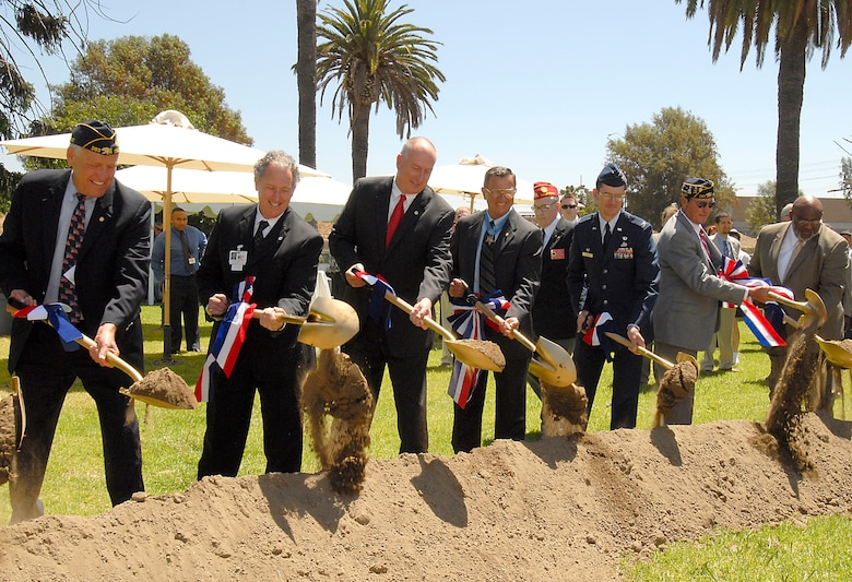 Col. Joseph Schwarz, 61st Air Base Wing commander, participated in the groundbreaking for a new Fisher House on the grounds of the VA's West Los Angeles campus.  The Pacific Palisades American Legion Post 283 donated $2 million to project that broke ground July 1.  In times of need, the Fisher House provides the opportunity for family members to be close to a loved one at the most stressful times -hospitalization for an illness, disease or injury.  (Photo by Joe Juarez)