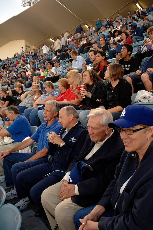 SMC Commander Lt. Gen. Michael Hamel chats with El Segundo Mayor Kelly McDowell at the Los Angeles Dodger game, July 20. The general threw out the first pitch at the game. (Photo by Paul Testerman)