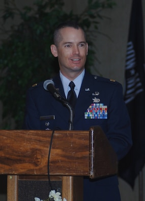 Major Kiley Stinson assumed command of the 14th Security Forces Squadron Tuesday in a ceremony at the Columbus Club. Major Stinson assumed command from Major Russell Stilling. (U.S. Air Force Photo by Airman 1st Class Danielle Powell)