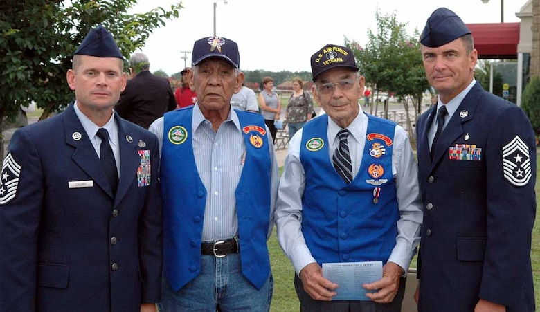 From left, 72nd Air Base Wing Command Chief Master Sgt. Phillip Cherry stands next to former World War II Army Air Corps Cpl. Chapman Hill, World War II Army Air Corps Pfc. Eddie Fish and 552nd Air Control Wing Command Chief Master Sgt. James Foltz. (Courtesy Photo)