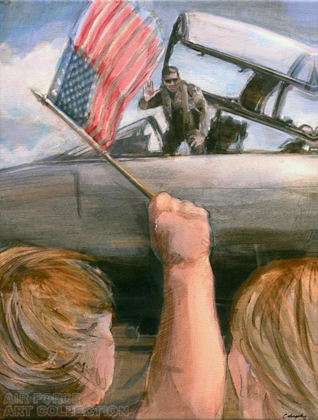 "This art piece in the Air Force art collection entitled, ""Welcome Home,"" was completed by artist Christine Murphy Soucey. She visited Air Mobility Command's Rodeo 2007 at McChord Air Force Base, Wash., to gather images for future paintings and illustrations for the Air Force Art Program. (U.S. Air Force photo)"