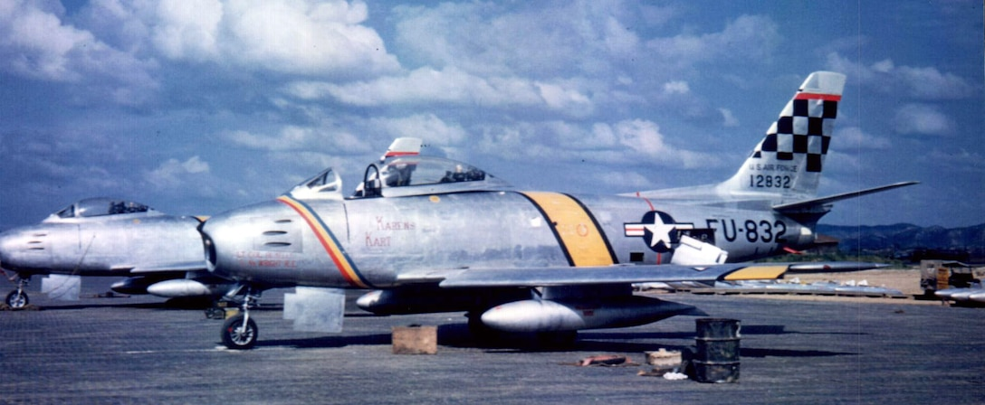 The F-86E Sabre flown by Lt. Col. Albert Kelly, 51st Fighter Interceptor Group commander,during the Korean War in 1952. The F-86 was the Air Force's first swept wing fighter. (Courtesy photo)