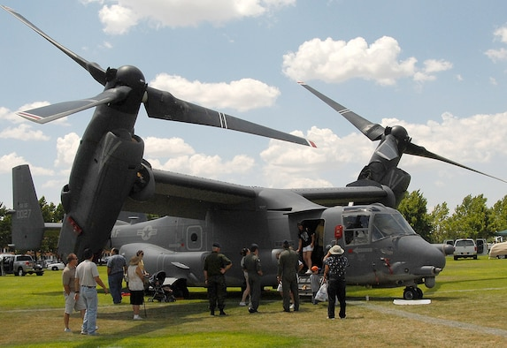 Bash attendees tour a CV-22 Osprey on display by the 71st Special Operations Squadron. U.S. Air Force photo by Todd Berenger