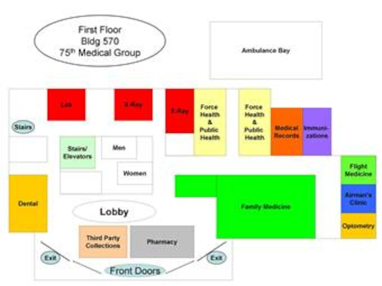 A floor plan with the locations of the new Airmen clinic and family medicine clinic.