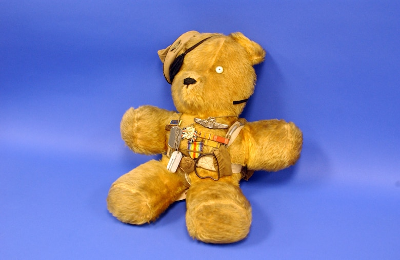 "The Col. Elmer E. Elmer teddy bear was the mascot for the crew of the B-29 ""Deacon Disciples,"" which was the aircraft broke that the Hawaii-to-Washington non-stop record of 17 hours, 21 minutes. (U.S. Air Force photo)"