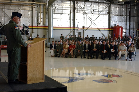 Col. Scott Dennis, 388th Fighter Wing commander, addressed the wing during the 388th FW assumption of command ceremony July 30 in Hangar 37. Col. Dennis spent a year as commander of the 332nd Expeditionary Operations Group at Balad Air Base, Iraq, before his assignment with the wing.