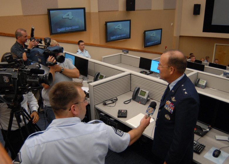 Maj. Gen Hank Morrow is interviewed by the media at the grand opening of America's Air Operations Center, June 1.