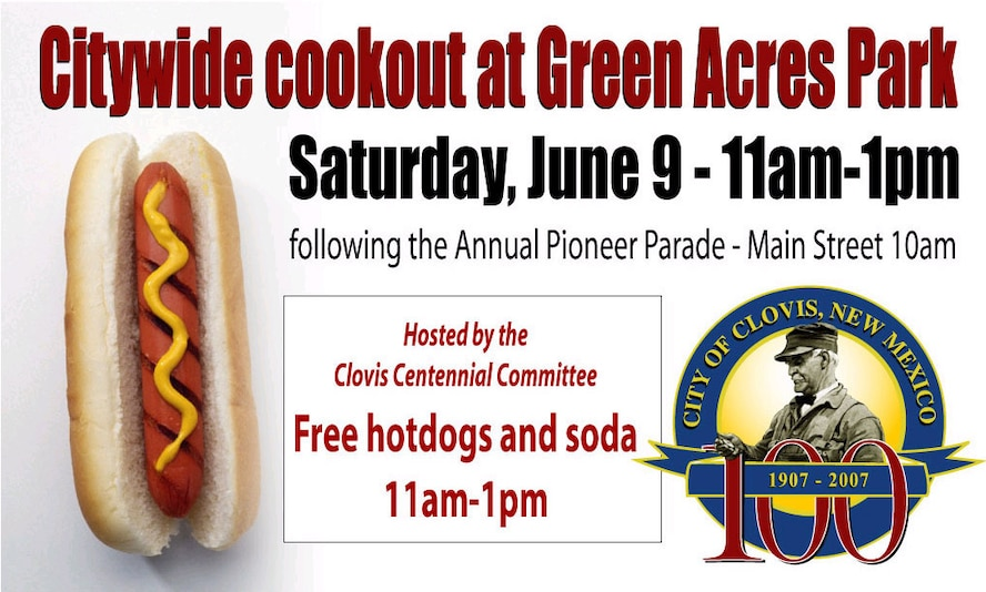 The Cannon community is invited to join the Clovis community and enjoy the Annual Pioneer Parade starting at 10 a.m. on June 9 at Main Street in downtown Clovis. Following the parade, everybody is invited to enjoy a free cookout with hot dogs ands sodas at Green Acres Park from 11 a.m. to 1 p.m. The Clovis Centennial Committee is hosting the event. (Courtesy graphic)