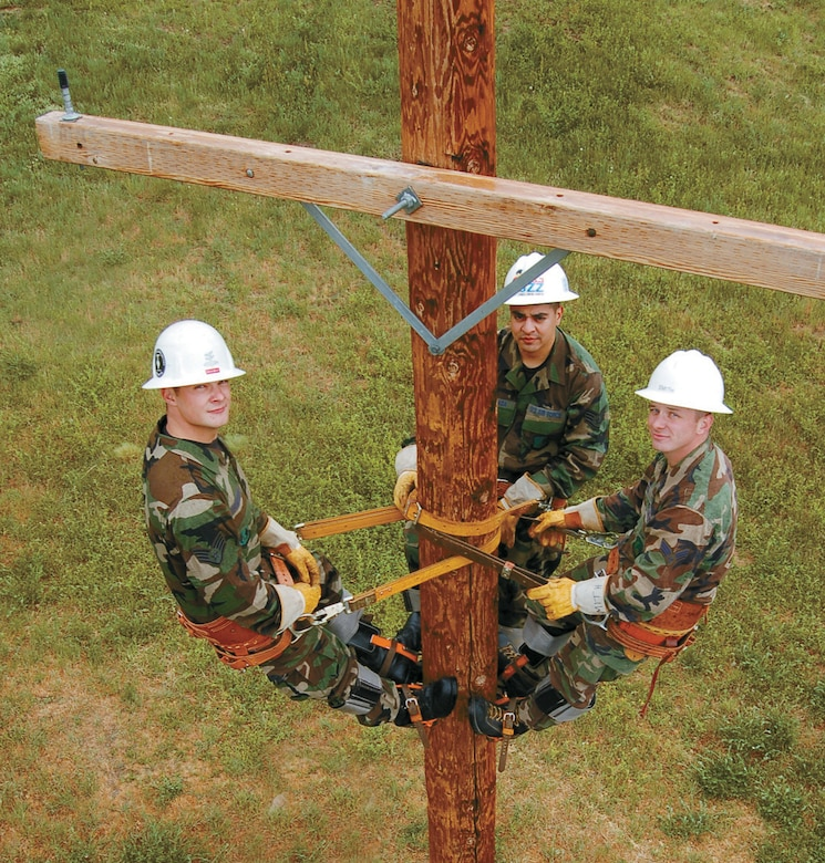 Senior Airman James Thompson, Senior Airman Luis Quesada and Senior Airman Clint Smith made up this year's Hill Air Force team who compete at the annual U.S. Air Force Lineman Rodeo at Sheppard Air Force Base, Texas. Photos by Beth Young