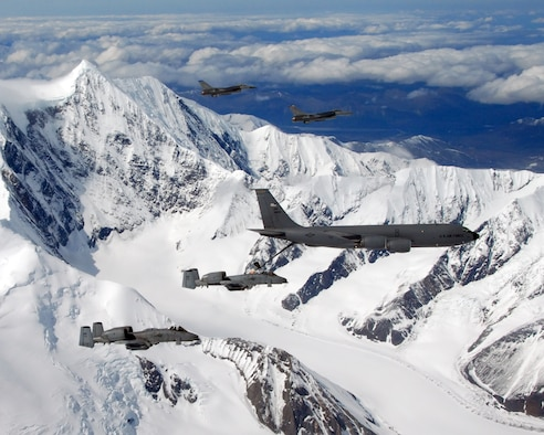 EIELSON AIR FORCE BASE, Alaska -- A KC-135R Stratotanker, 168th Air Refueling Wing, flies in formation with two F-16 Fighting Falcons from the 18th Fighter Squadron, and two A-10 Wathog II's from the 355th Fighter Squadron May 29, 2007, here.  The five aircraft assigned to Eielson flew in formation for the last time due to the deactivation of the 355th FS, and the 18th FS.  (U.S. Air Force photo by Master Sergeant Rob Wieland)