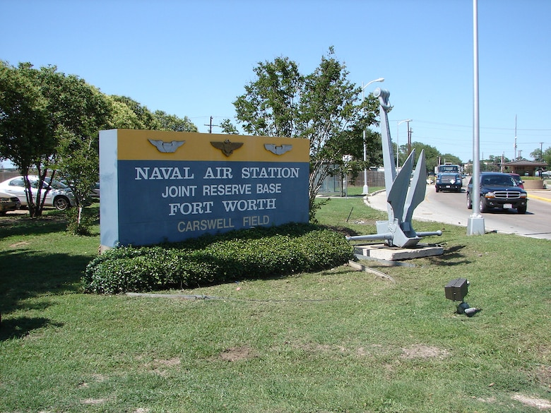 Sign by the main gate at Naval Air Station Joint Reserve Base Ft. Worth, formerly Carswell AFB, Texas.